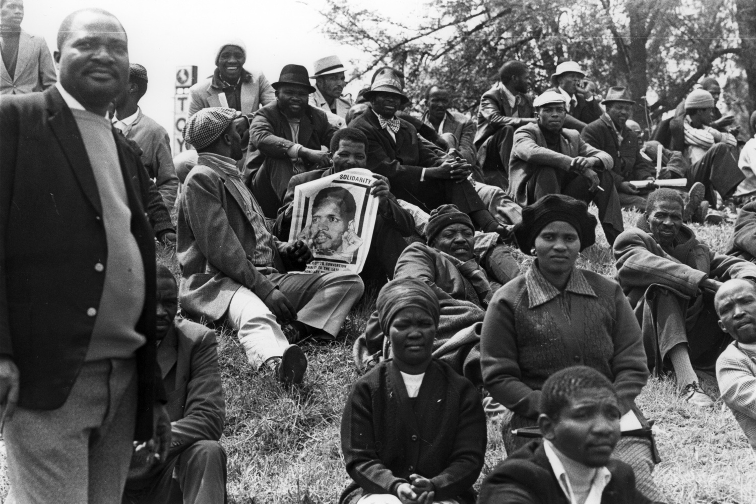 Part of the crowd of 20,000 mourners who attended Steve Biko's funeral. 1977.