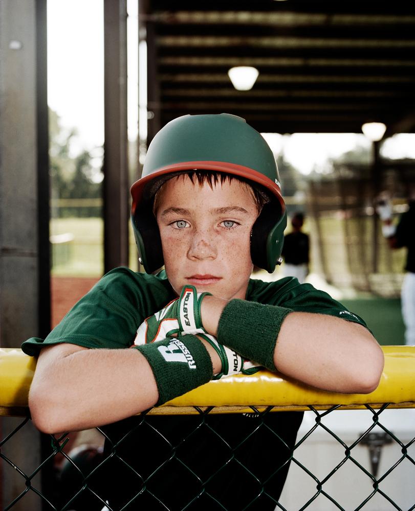 Christian Dakan #6, left fielder/catcher for Kearney Little League, Kearney, Neb.