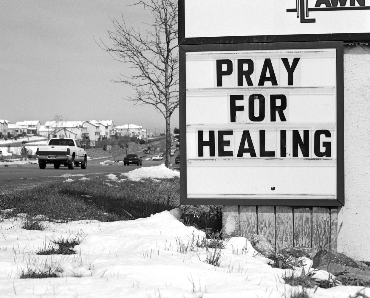 Local sign in Columbine, Colo. in response to the tragic Columbine High School shooting.