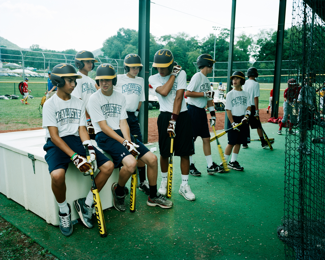 The McAllister Park National Little League team from San Antonio, Texas at batting practice. They are the 2012 Southwest Champions.
