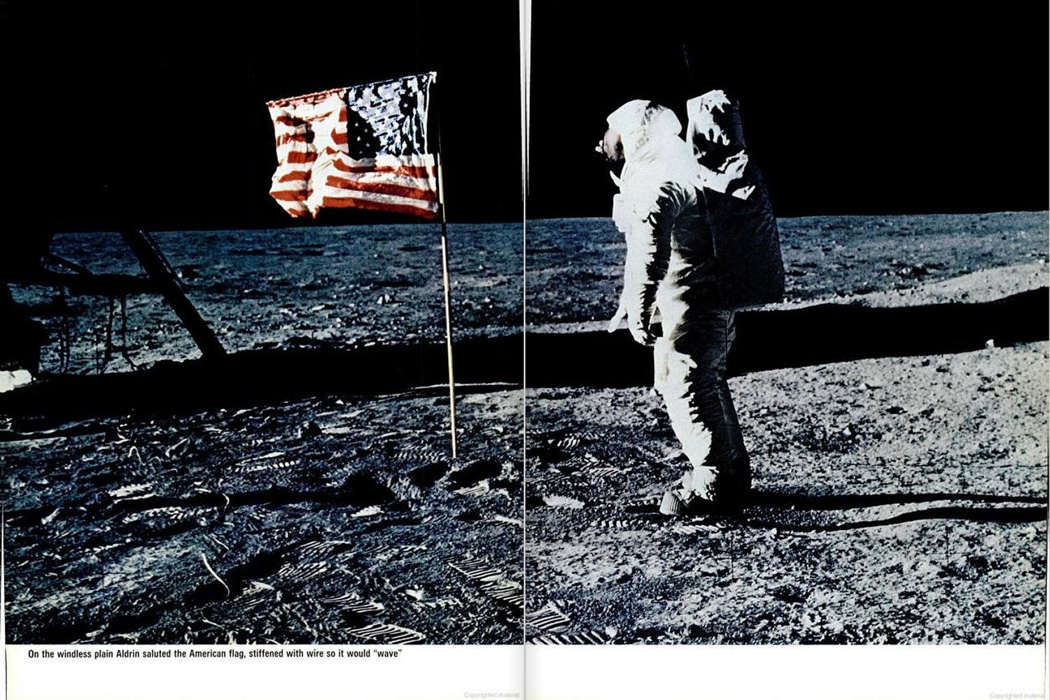 "<b>LIFE magazine Special Edition, August 11, 1969.</b> ""On the windless plain Aldrin saluted the American flag, stiffened with wire so that it would 'wave'. . . ."""