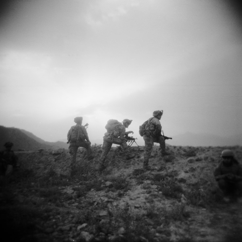 U.S. infantry soldiers on patrol in the south of Logar Province, Afghanistan. September 2009.