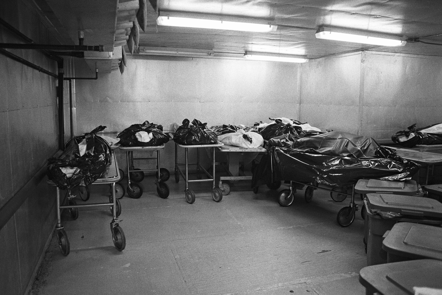 Bodies in the cold storage room of Memphis City Morgue.