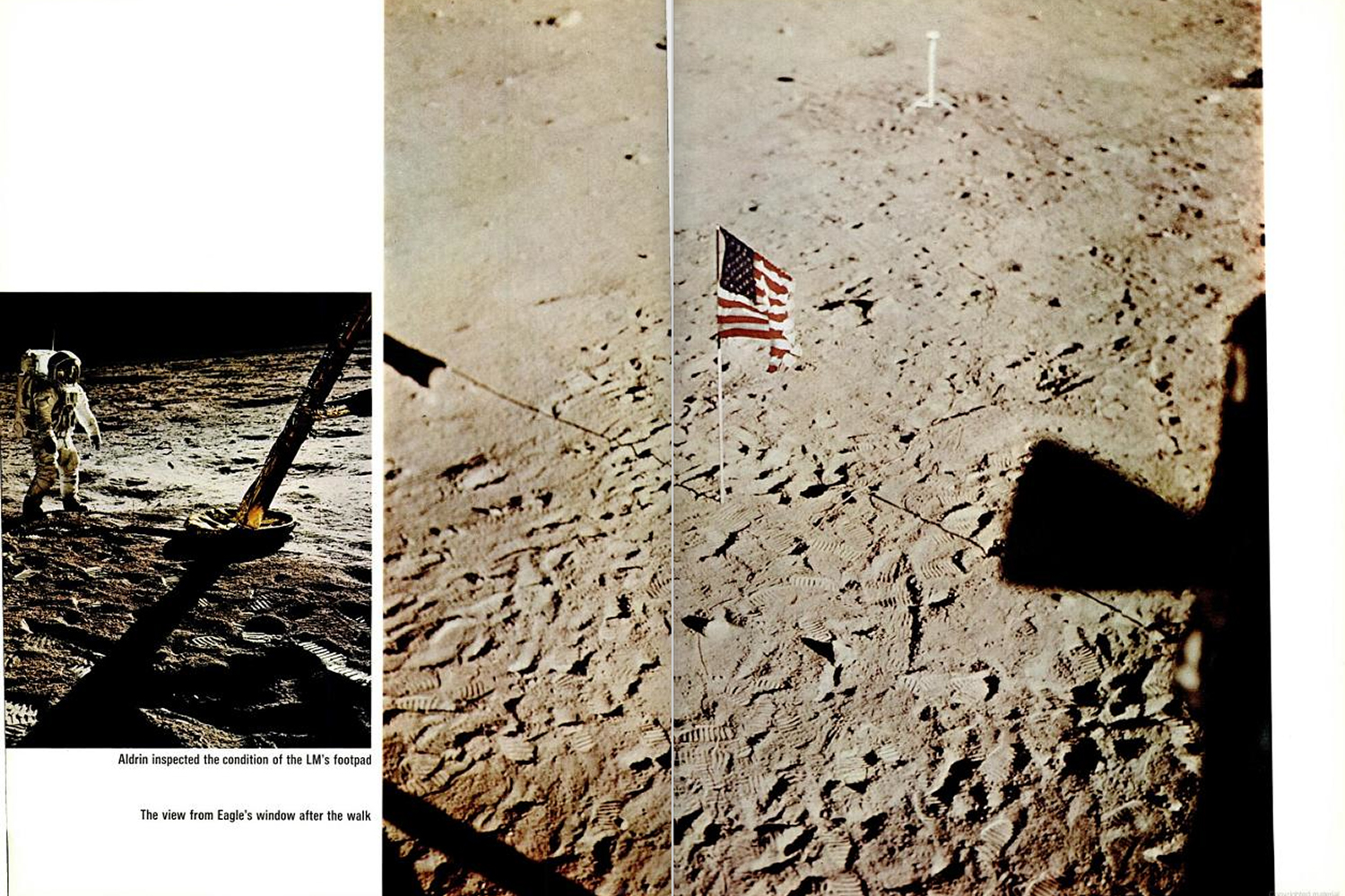 "<b>LIFE magazine Special Edition, August 11, 1969.</b> ""Left: Aldrin inspected the condition of the Lunar Modules footpad. Right: The view from <em>Eagle</em>'s window after the walk."""