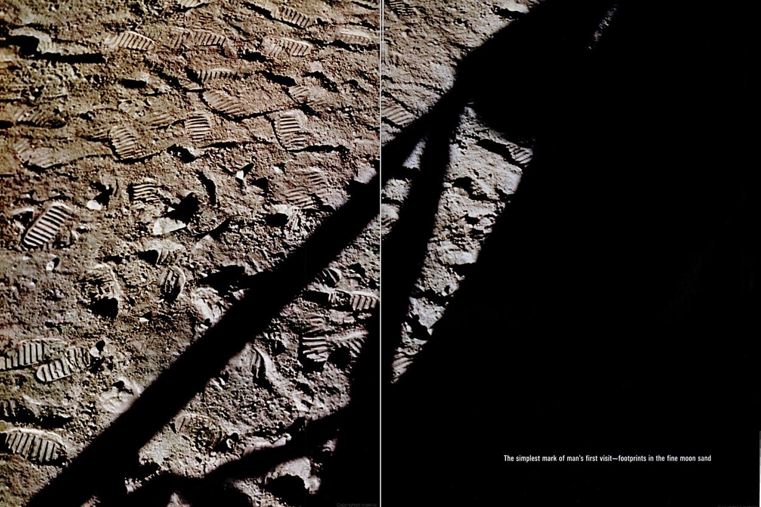 "<b>LIFE magazine Special Edition, August 11, 1969.</b> ""The simplest mark of man's first visit — footprints in the fine moon sand."""