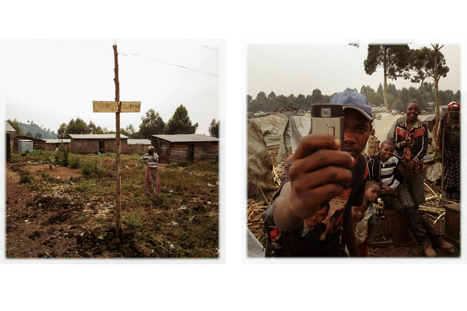 A camp for internally displaced persons (IDPs) in Kibati, 10km north of Goma. A sign advertising a place to charge your phone (left). A young man demonstrates the democratic nature of mobile phone photography (right).