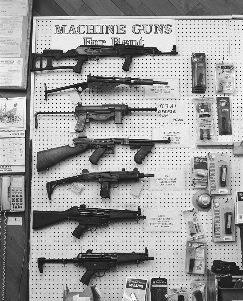 Machine guns for rent at a gun store in Los Angeles.