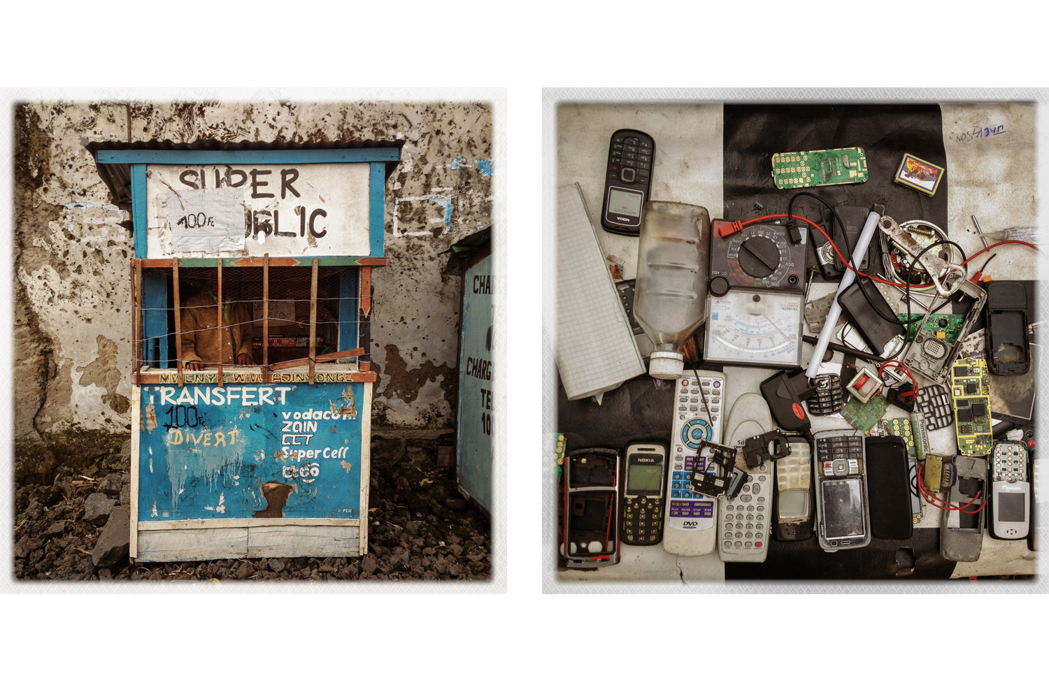 Mobile phone stands line many of the streets in Goma, as they do across the continent.