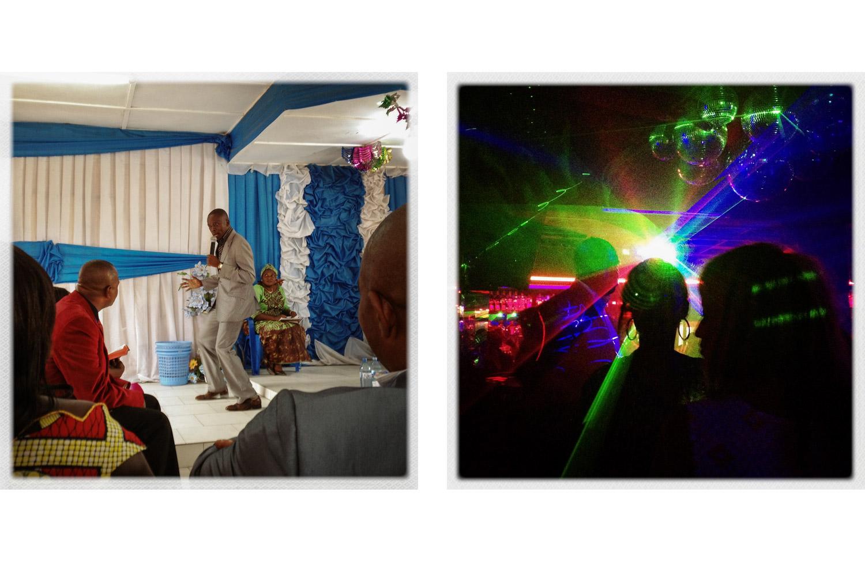 Eglise De La Saintete, a church in Goma (left) and the nightclub Chez Ntemba (right).
