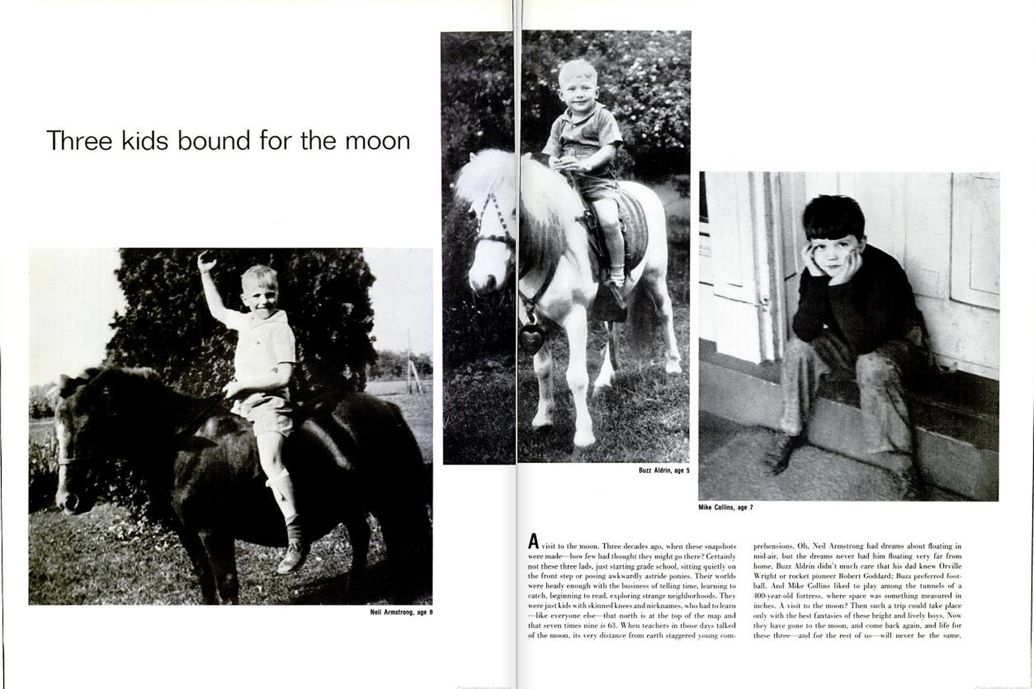 "<b>LIFE magazine Special Edition, August 11, 1969.</b> ""Three kids bound for the moon. From left: Armstrong, Aldrin and Collins ..."""