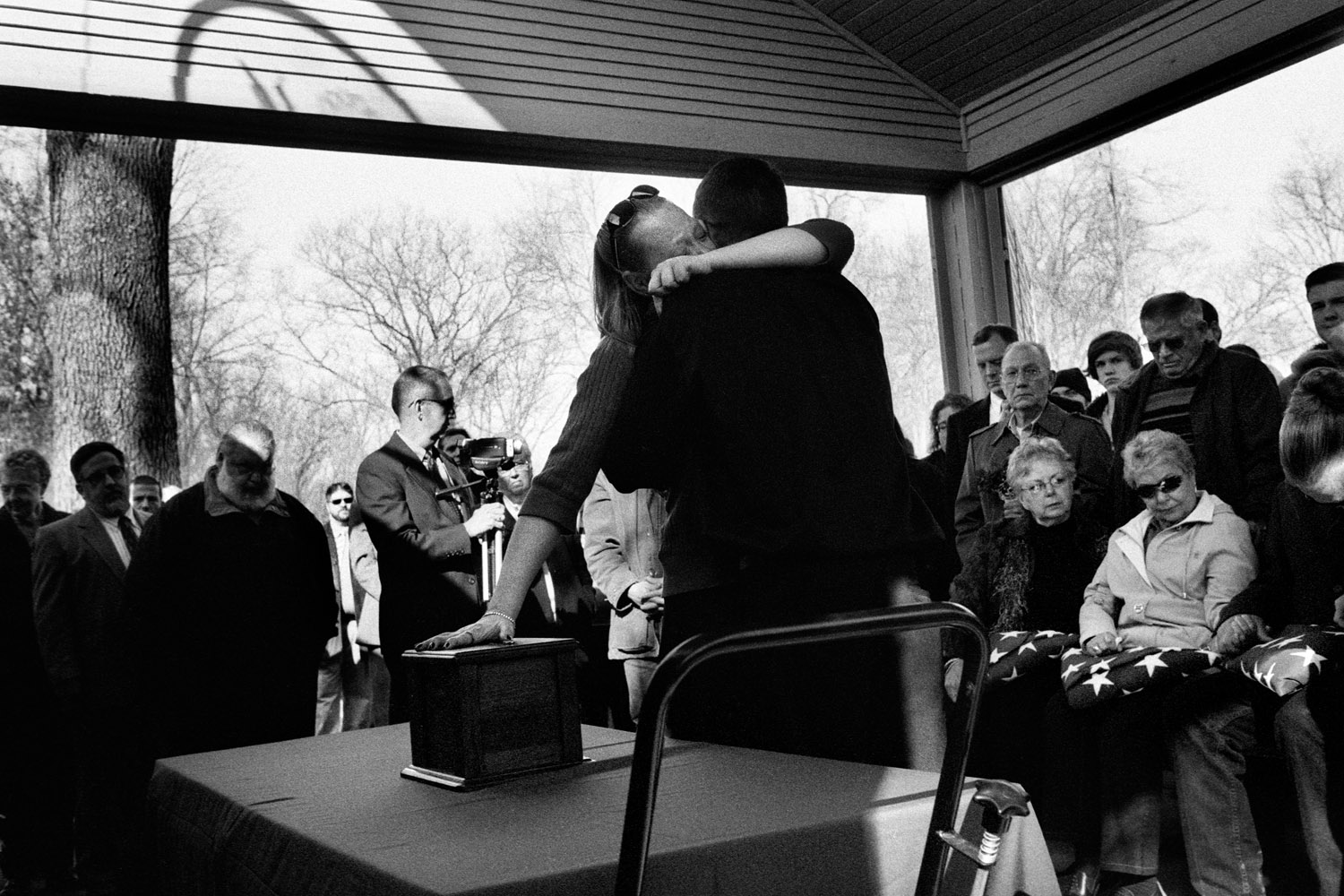 Tess Terpstra and Jay Terpstra embrace at Specialist Terpstra's funeral.