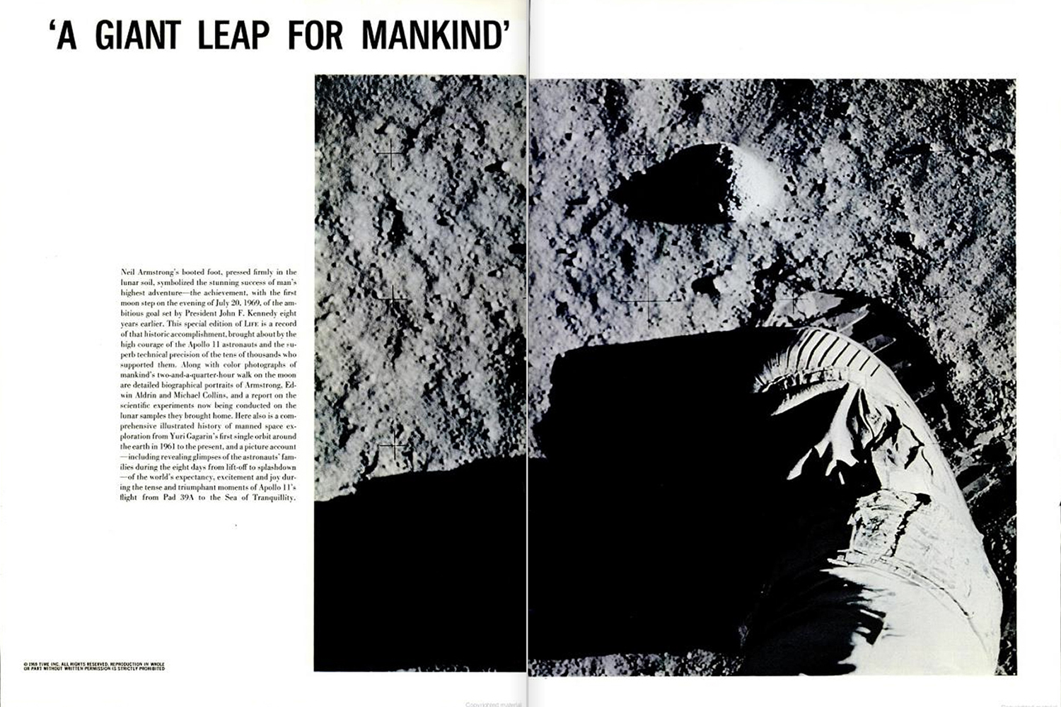 "<b>LIFE magazine Special Edition, August 11, 1969.</b> July 20, 1969: ""Neil Armstrong's booted foot pressed firmly in the lunar soil. . . ."""