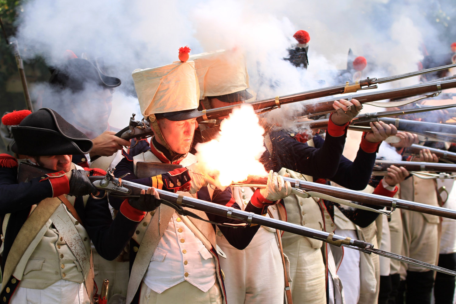 Aug. 11, 2012. Participants acting as soldiers of the French army fire muskets in Austerlitz during the traditional Napoleonic days marking the 243rd anniversary of the birth of Napoleon Bonaparte.