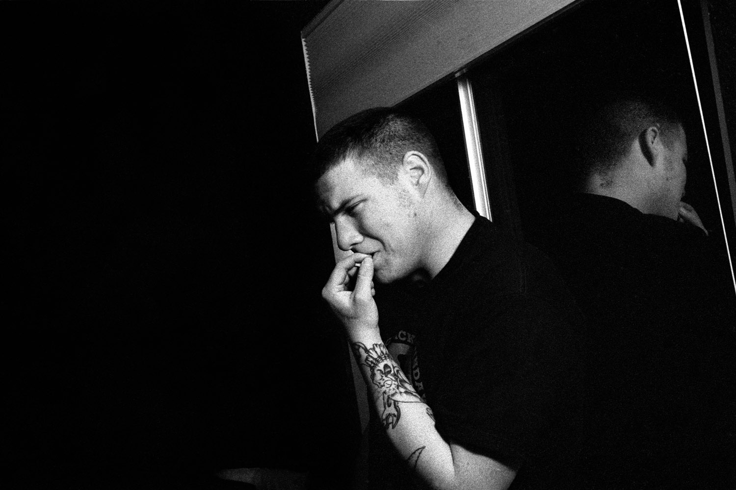 Specialist Adam Ramsey, 22, experiences an anxiety attack and flashback at his home in Carson City, Nev. February 2010.