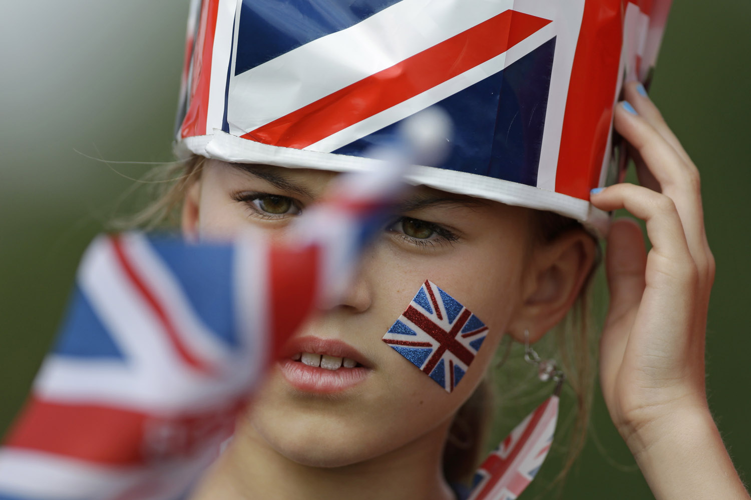 Aug. 12, 2012. A fan of Great Britain watches the Mountain Biking men's race at the 2012 Summer Olympics.