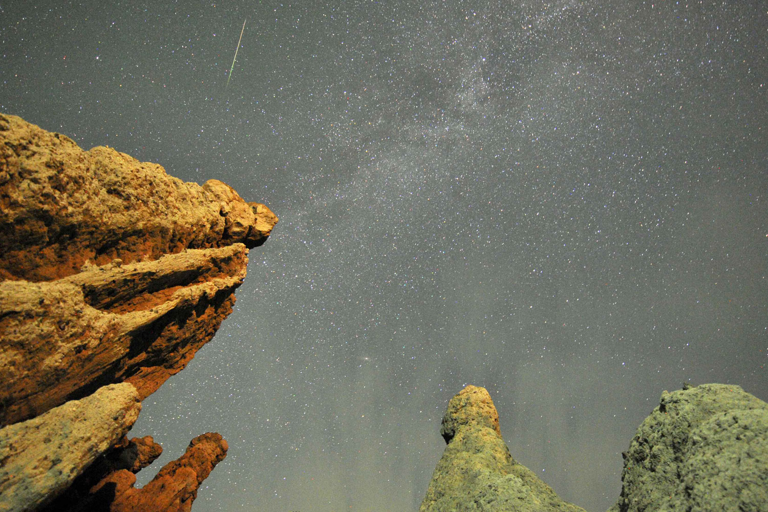 Aug. 13, 2012. A meteor streaks past stars in the night sky over the village of Kuklici, Macedonia.