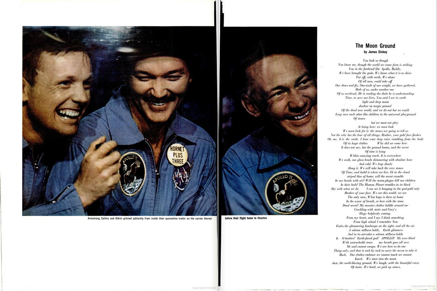"<b>Life magazine Special Edition, August 11, 1969.</b> ""Armstrong, Collins and Aldrin grinned jubilantly from inside their quarantine chamber on the carrier <em>Hornet</em> before their flight home to Houston ..."""