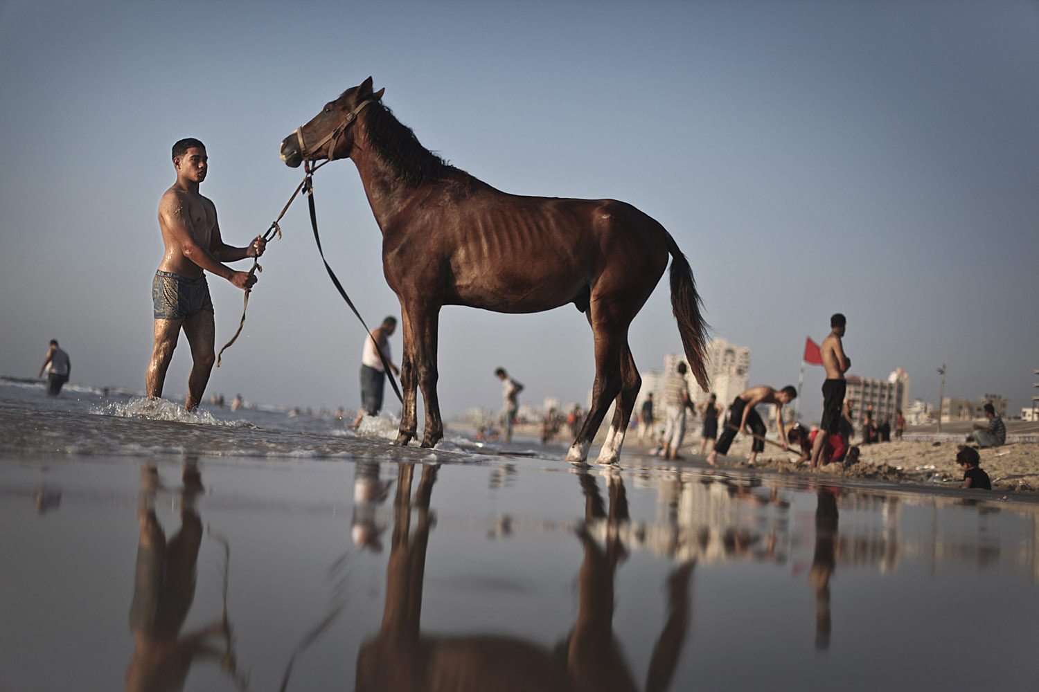 Aug. 12, 2012. A Palestinian man leads a horse into the water to have a bath on the beach as Palestinians enjoy a summer day at the sea shore in the west of Gaza City.