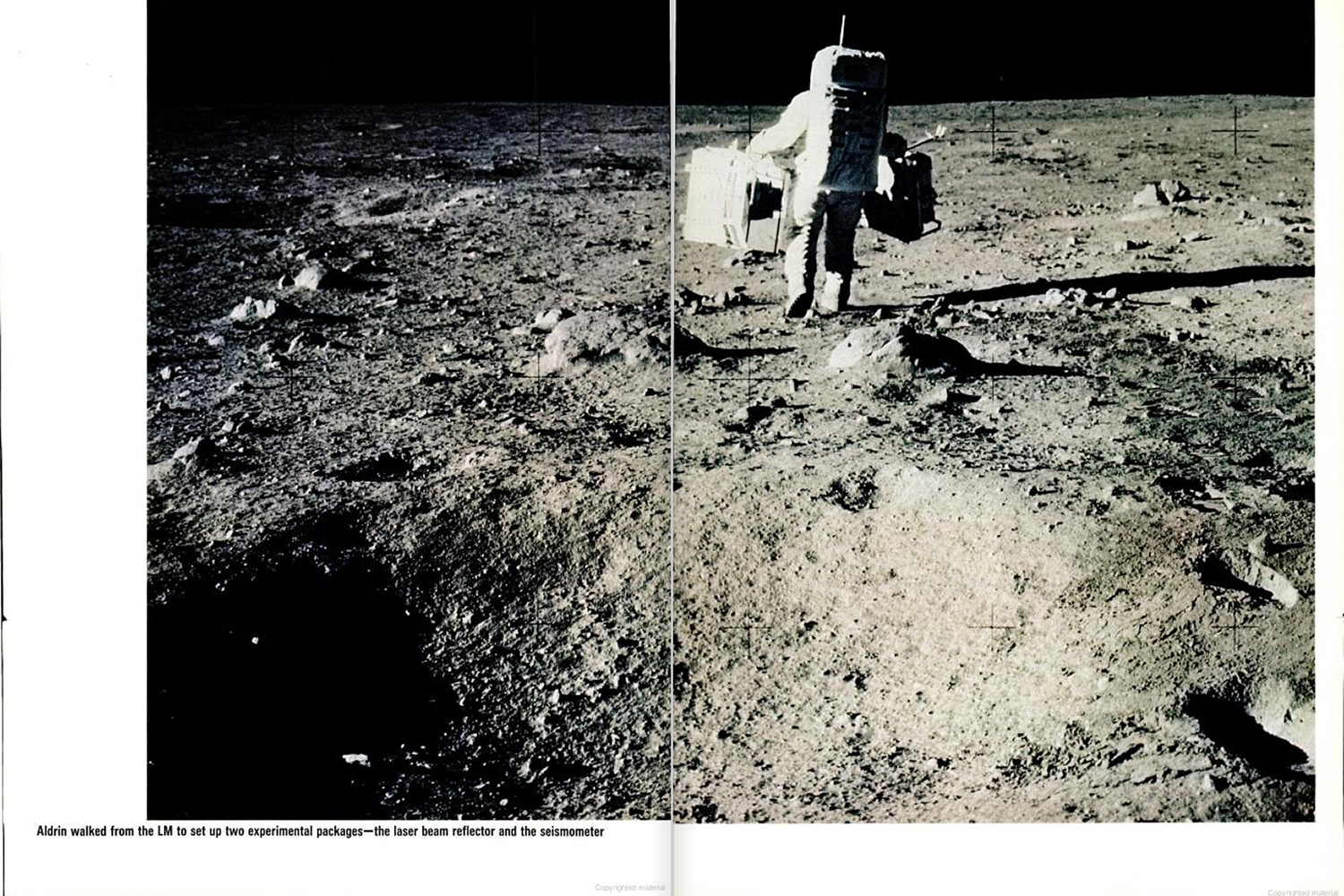 "<b>LIFE magazine Special Edition, August 11, 1969.</b> ""Aldrin walked from the Lunar Module to set up two experimental packages — the laser beam reflector and the seisometer."""