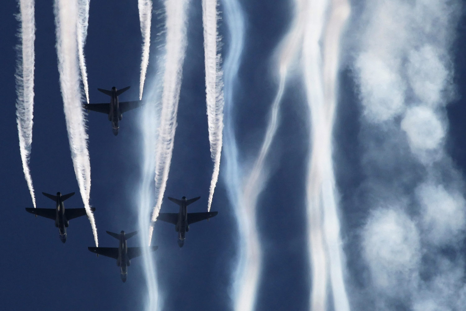 Aug. 12, 2012. An aerobatic team from the Finnish Air Force performs during an air show in the town of Zhukovsky near Moscow.