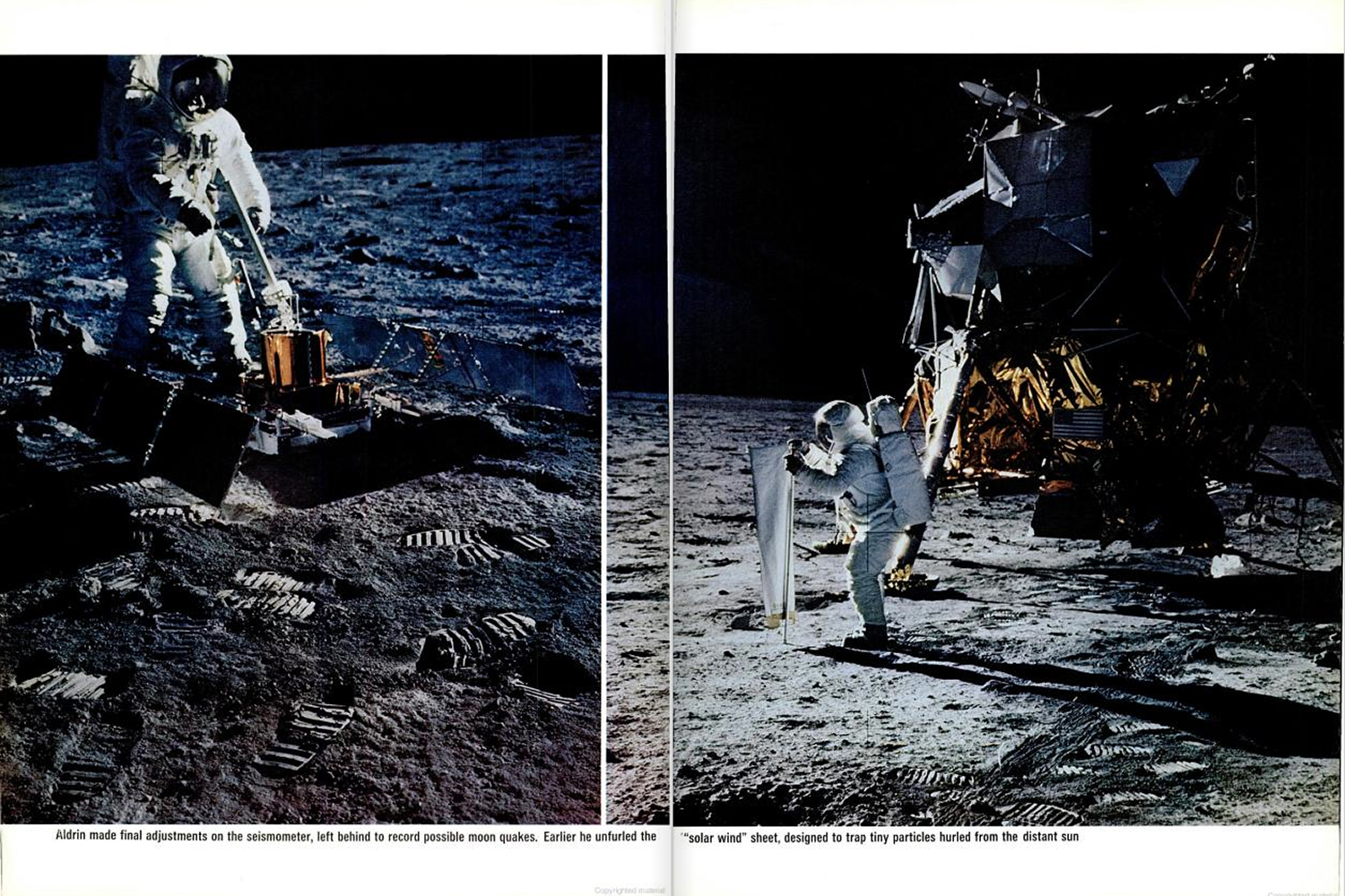 "<b>LIFE magazine Special Edition, August 11, 1969.</b> ""Adrin made final adjustments to the seisometer, left behind to monitor possible moon quakes. Earlier he unfurled the 'solar wind sheet,' designed to trap tiny particles hurled from the distant Sun."""