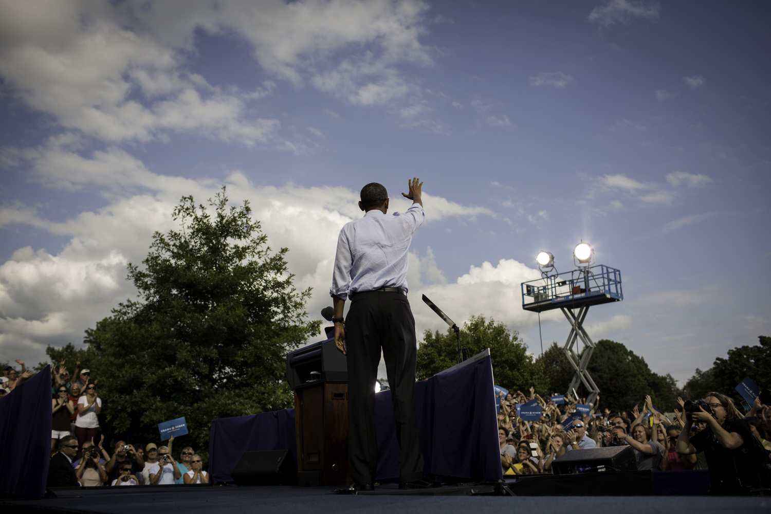 President Obama on stage after speaking at a rally at the Rochester Commons.