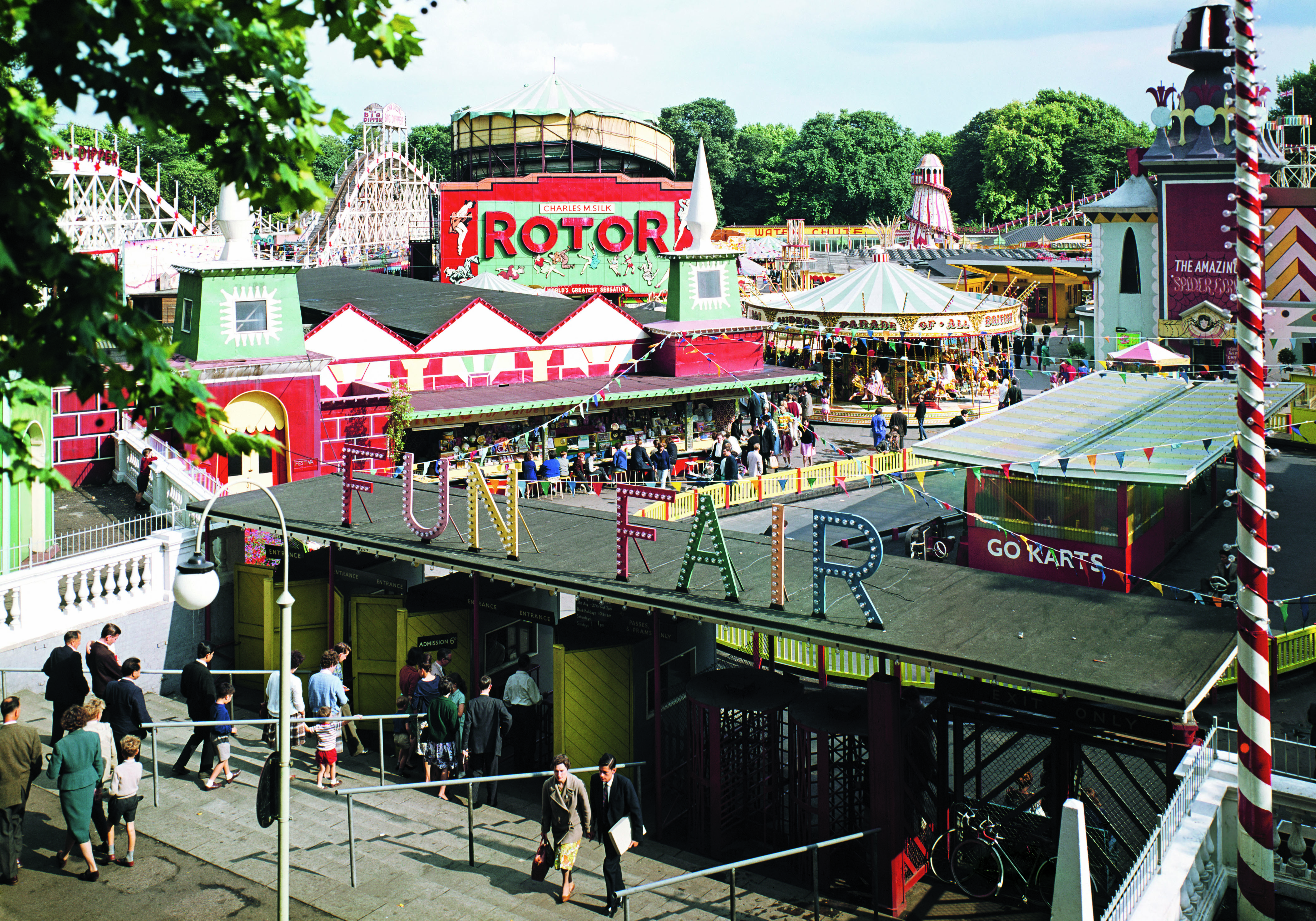 1951. Battersea Fun Fair, opened in 1951, was part of the Festival of Britain celebrations.