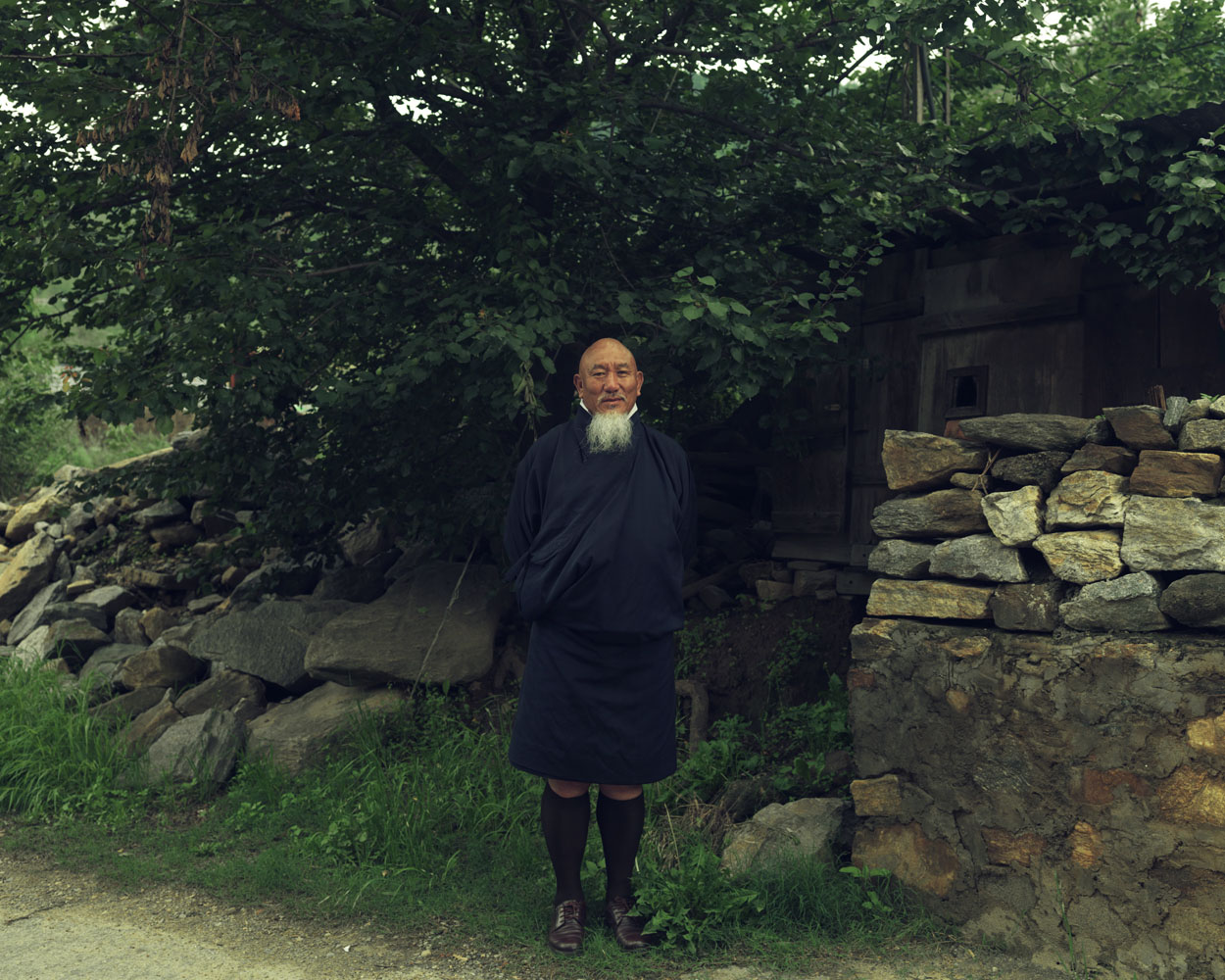 Kado Tshering, bodyguard to Bhutan's previous King, outside his home in Thimphu.