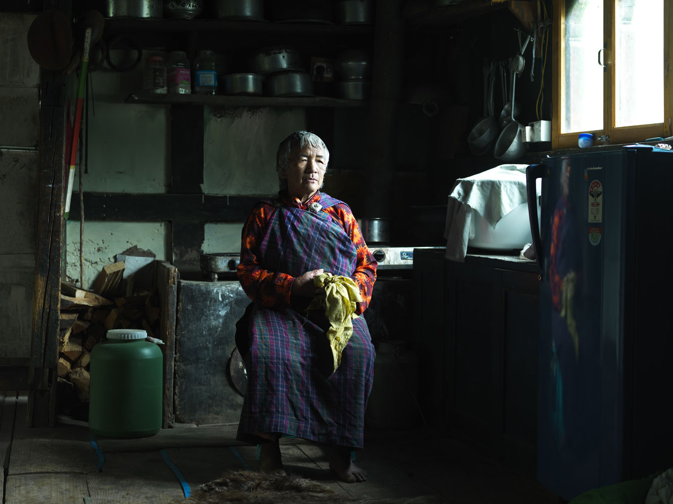 Nyima, 86, in her kitchen in Paro.