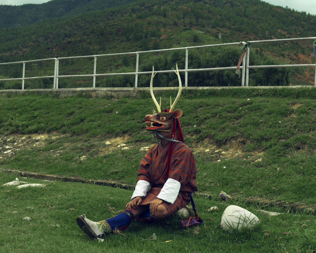 Masked artist perform for festivals known as Cham's in Paro.