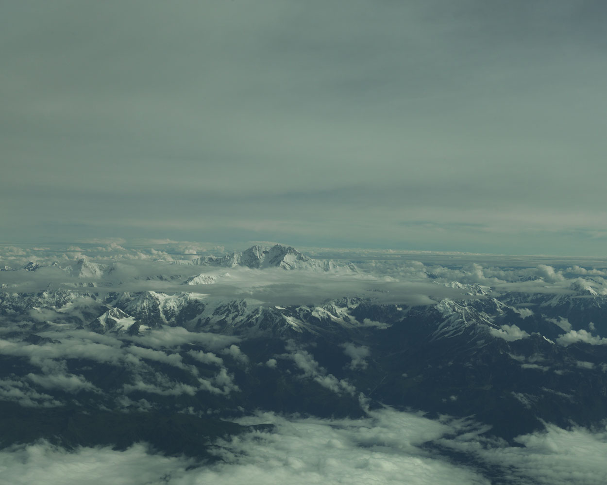 View of Mount Jomolhari from the air. The Himalayan peak straddles the border between Tibet and Bhutan.