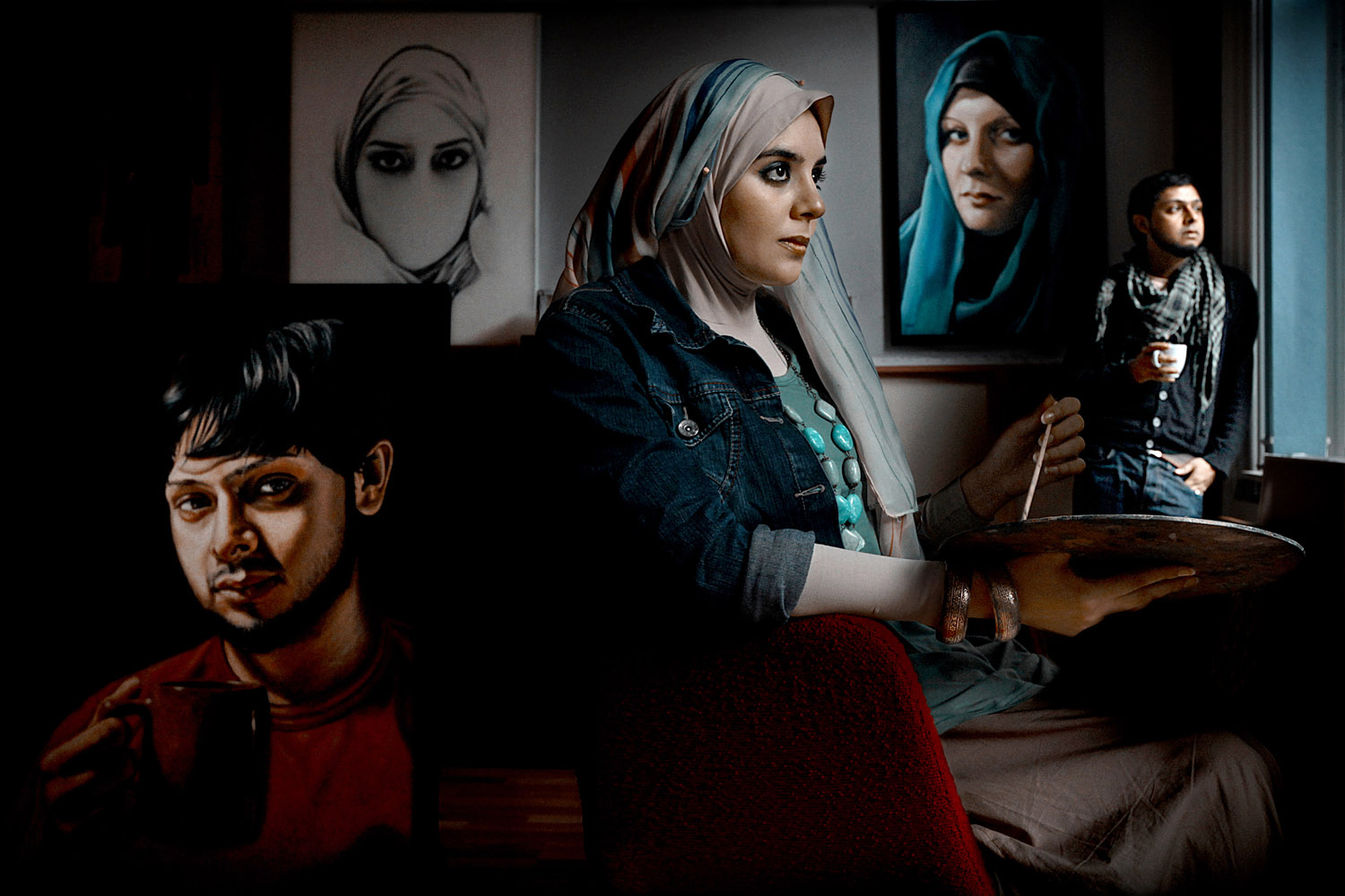 Iythar is a British artist in London and one of her paintings (top left) is titled, 'The Way Sarkozy Intended It'. She said, 'It is an interpretation of the burqa ban in France. It shows how the ban takes away the voice and identity of Muslim women, leaving them speechless and incomplete'. July 2011.