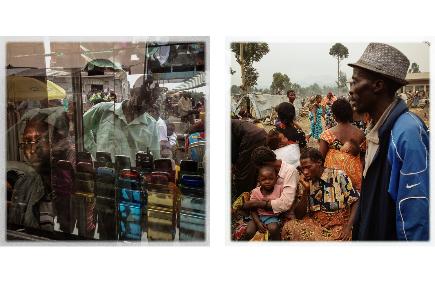 A mobile phone stand in Goma (left) and an IDP camp in nearby Kibati (right).