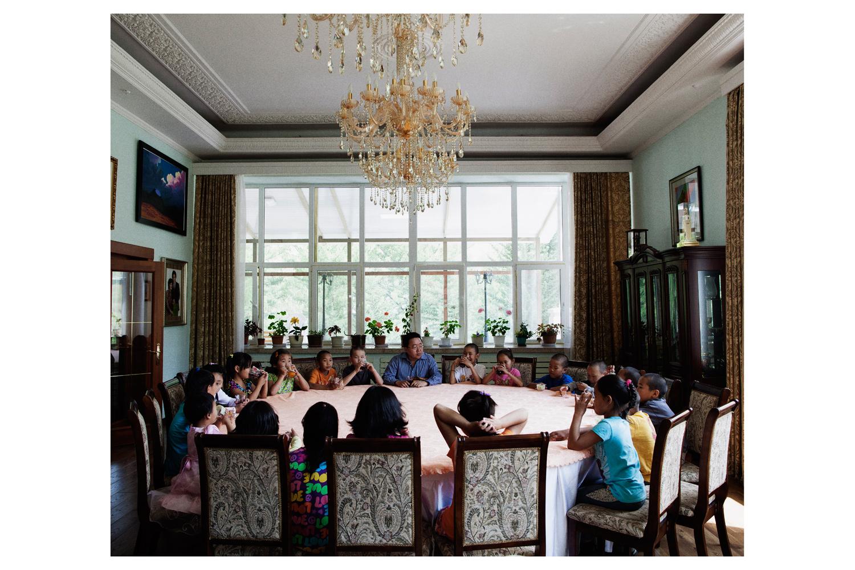 President Tsakhiagiin Elbegdorj and his 20 adopted children in his Ulan Bator residence.