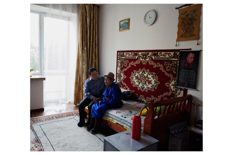 President Tsakhiagiin Elbegdorj with his 93-year-old mother.