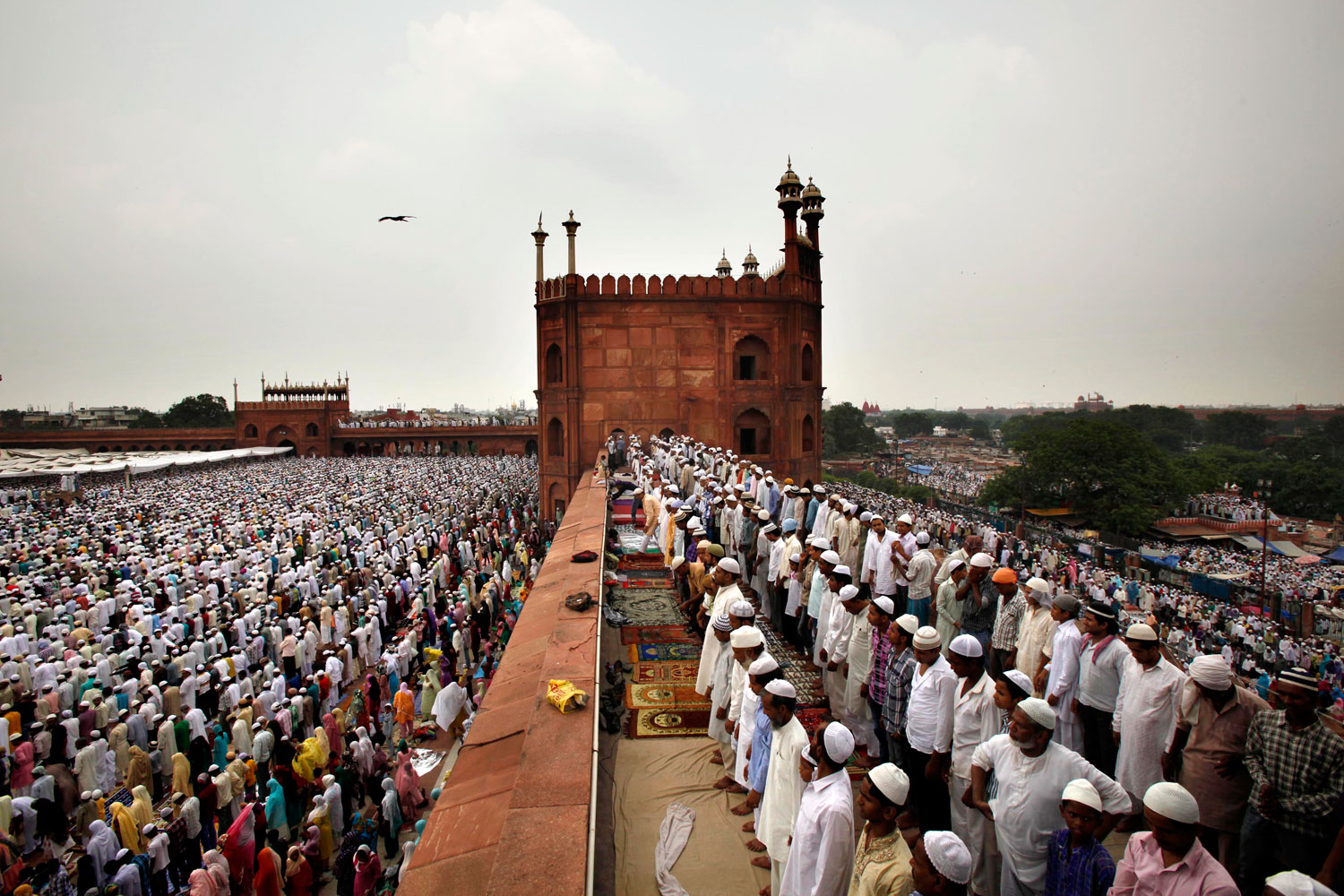 August 17, 2012. Indian Muslims offer prayer on the last Friday of the holy month of Ramadan at Jama Maszid, in New Delhi, India.