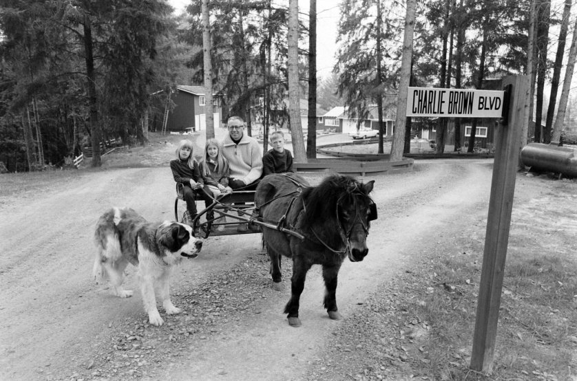 Charles M. Schulz with his kids, Jill, Amy and Monte, in California in 1967.