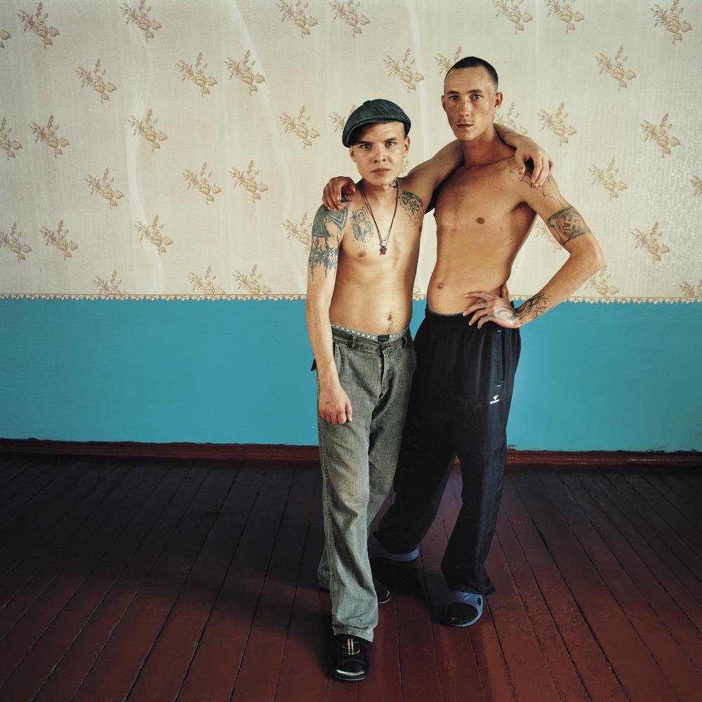Vova (left), sentenced for theft, and Alexander (didn't reveal his crime). Men's prison, Ukraine, 2010.