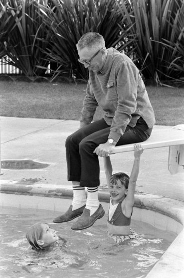 Charles M. Schulz with his kids at home in California in 1967.