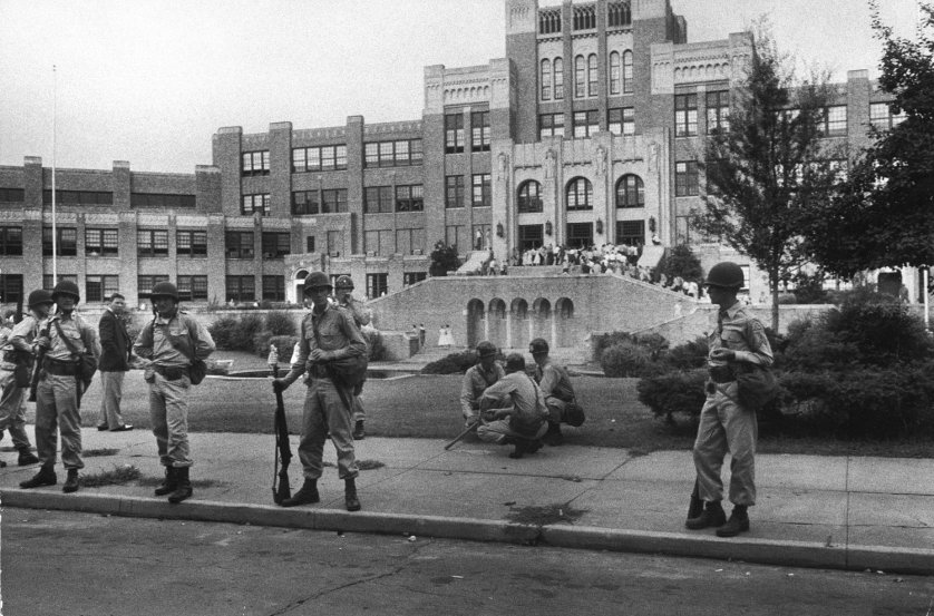 Arkansas National Guard stand on duty during the integration of Little Rock Central High School, 1957.
