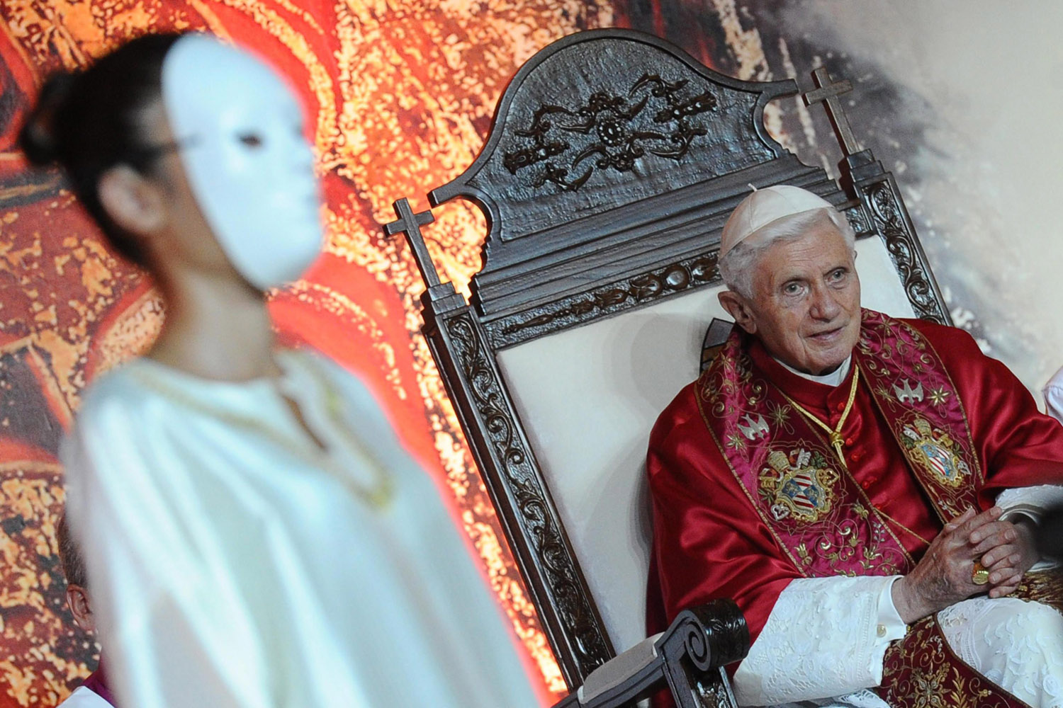 Sept. 15, 2012. Pope Benedict XVI watches actors during his visit to the Lebanese Maronite patriarch in Bkerke, Lebanon.