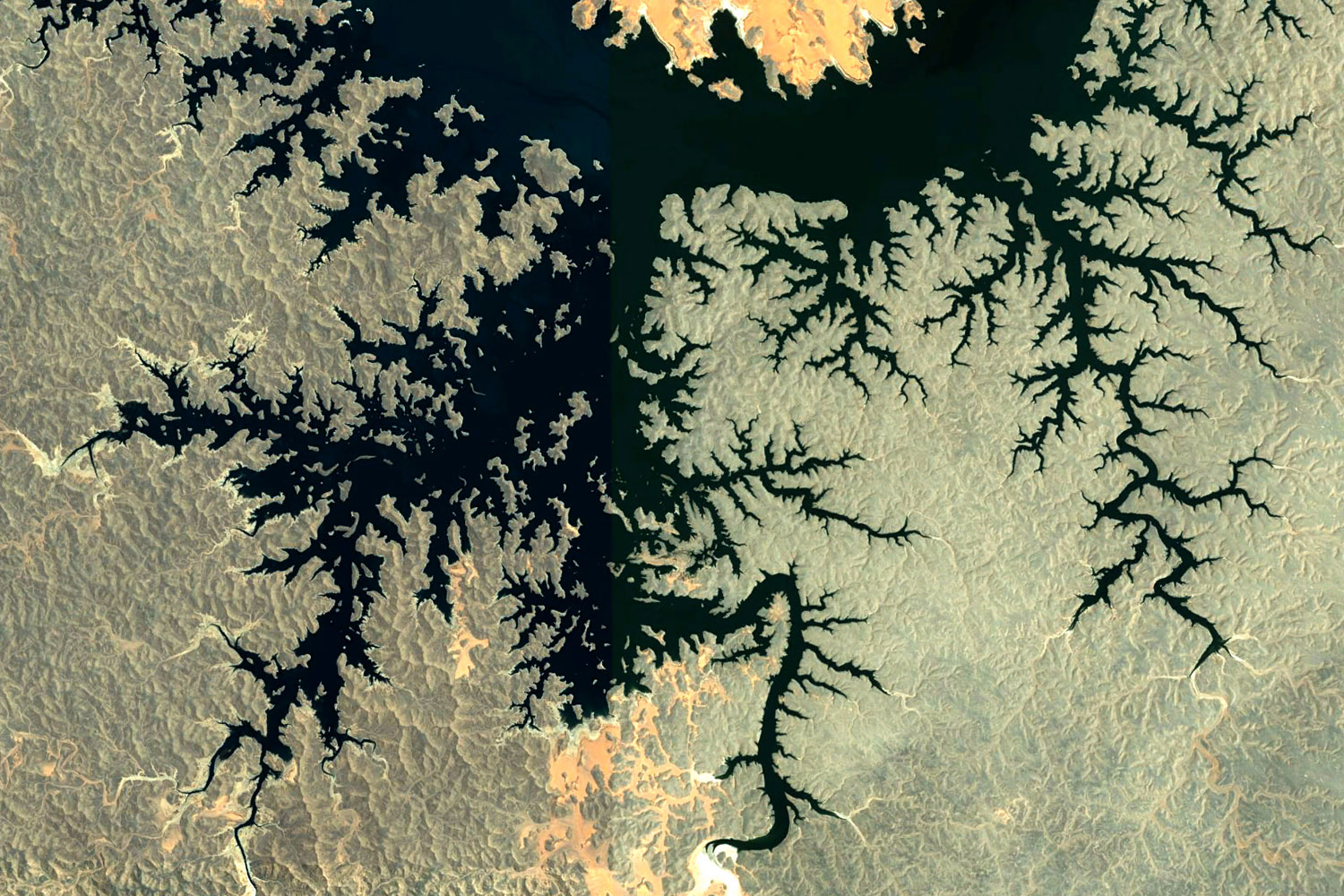 The images in this gallery of natural fractal patterns on earth, viewed from space, have been curated from Google Earth by professor Paul Bourke.                   Egypt
