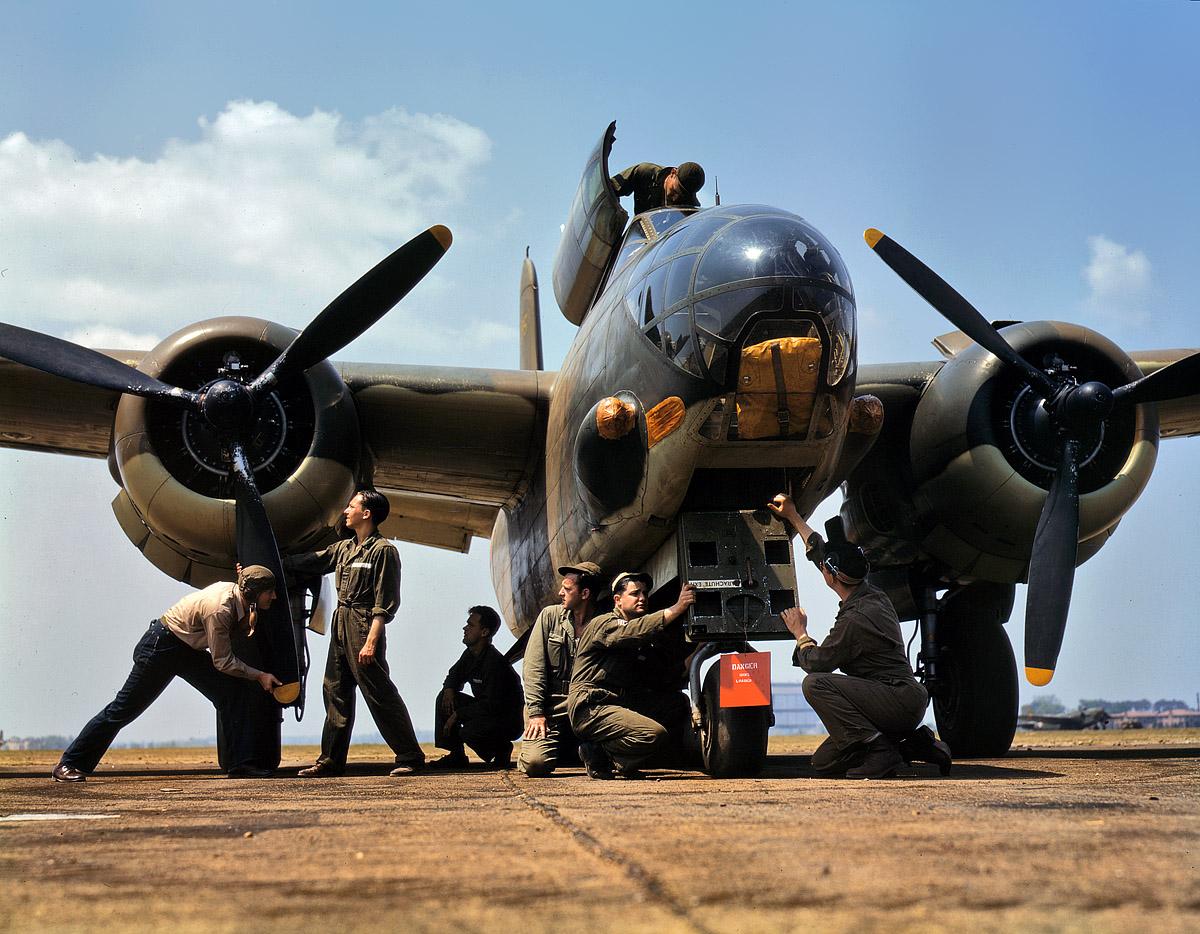 July 1942. Servicing an A-20 bomber at Langley Field, Va.