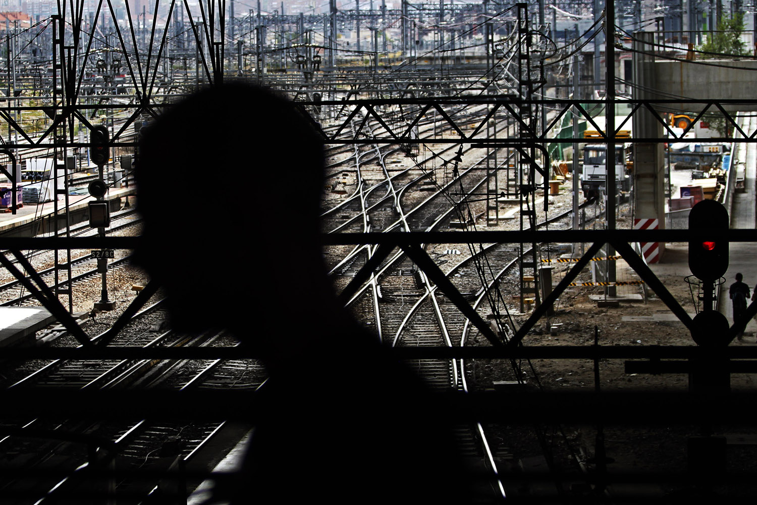 Sept. 17, 2012. A man walks along Atocha station in Madrid during a partial national rail strike.