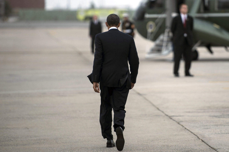 Sept. 18, 2012. U.S. President Barack Obama arrives at John F. Kennedy Airport  in New York.