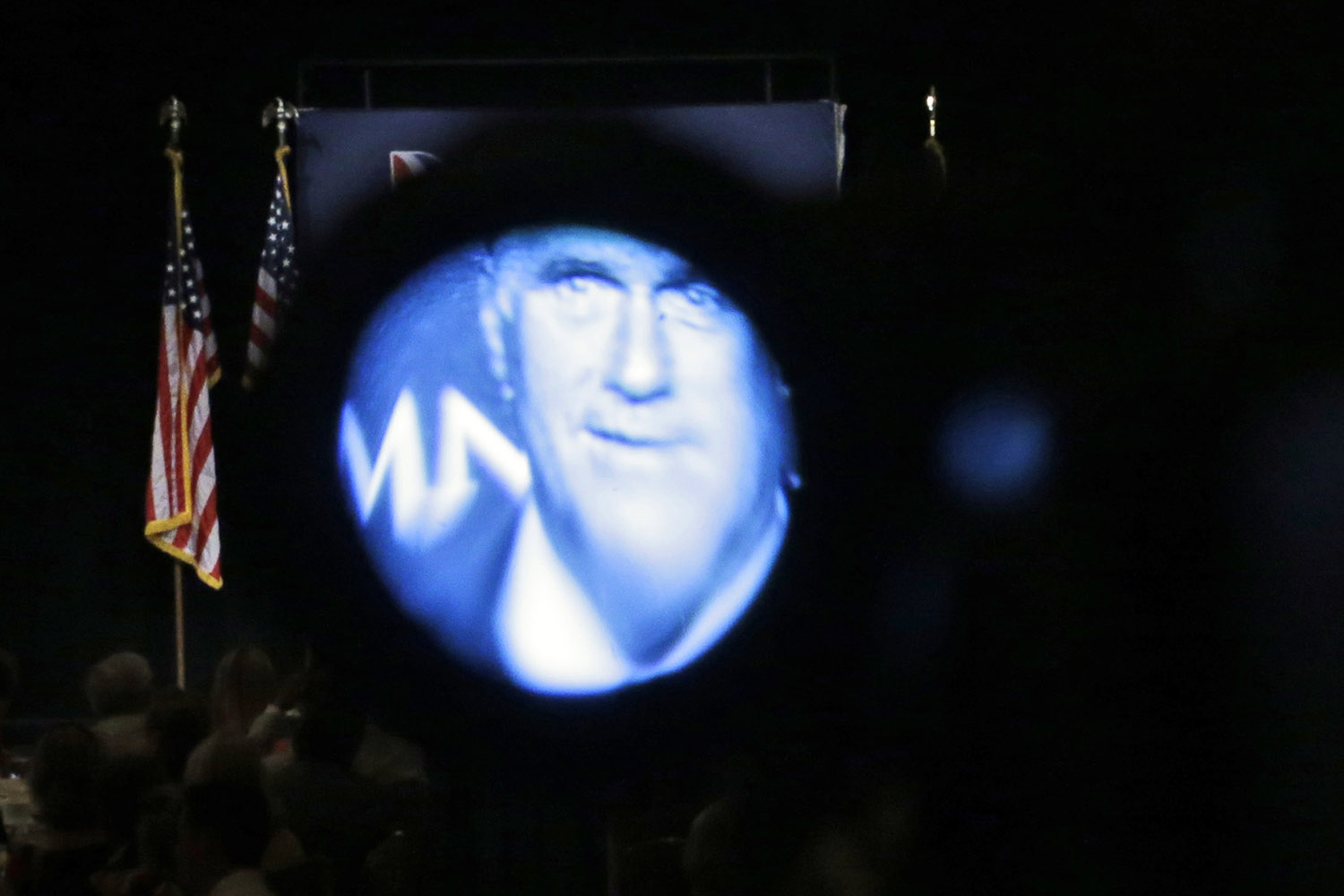 Sept. 18, 2012. Republican presidential candidate Mitt Romney is seen through a television camera's viewfinder as he speaks at a campaign fundraising event at The Grand America in Salt Lake City.