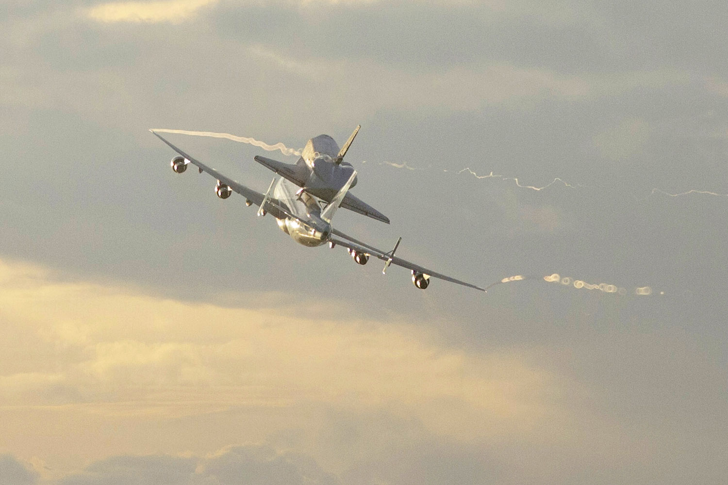 Sept. 19, 2012. Space shuttle Endeavour makes its departure atop a modified jumbo jet from the Kennedy Space Center in Cape Canaveral, Fla.