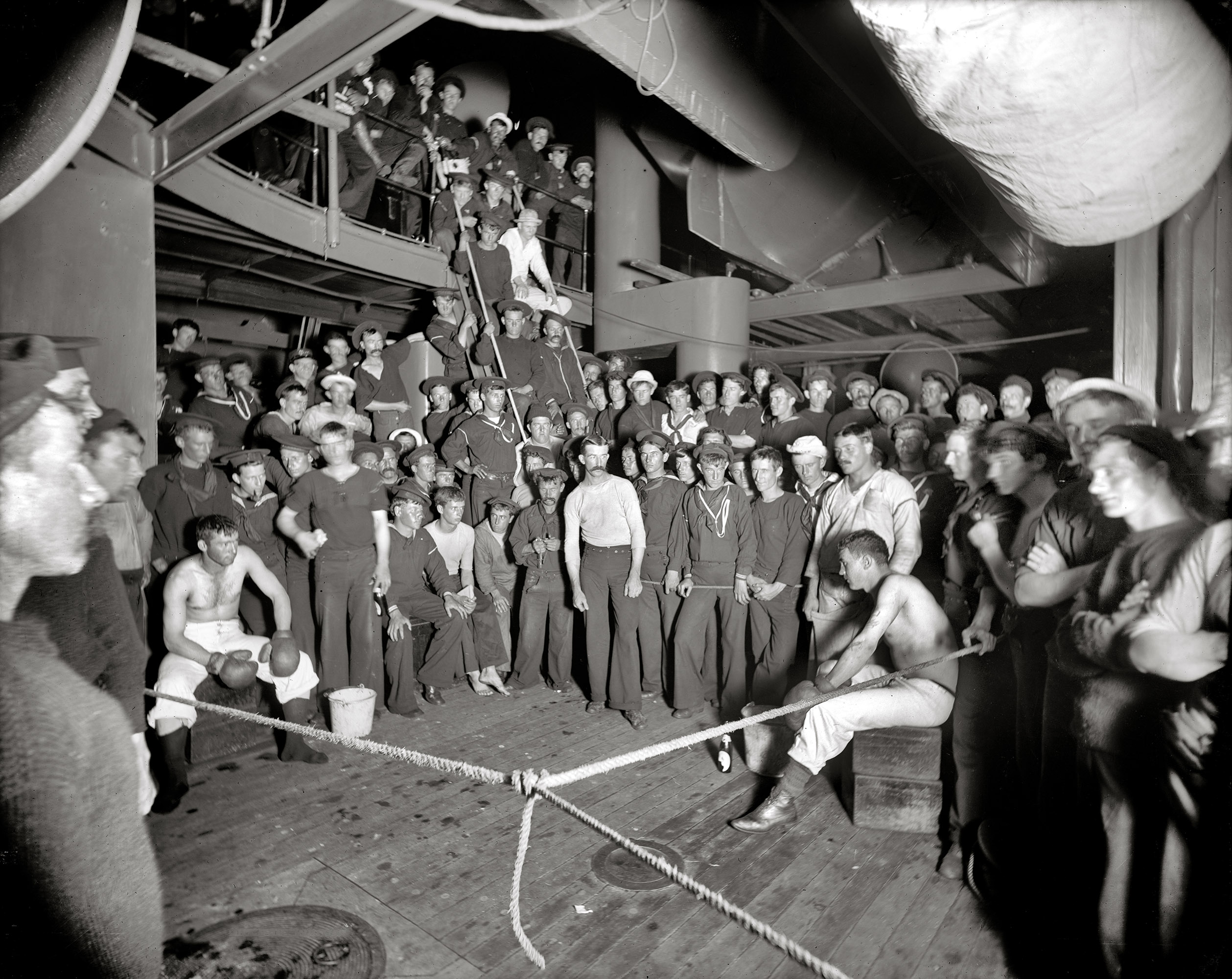 Aboard the U.S.S. Oregon circa 1897.  Waiting for the gong.