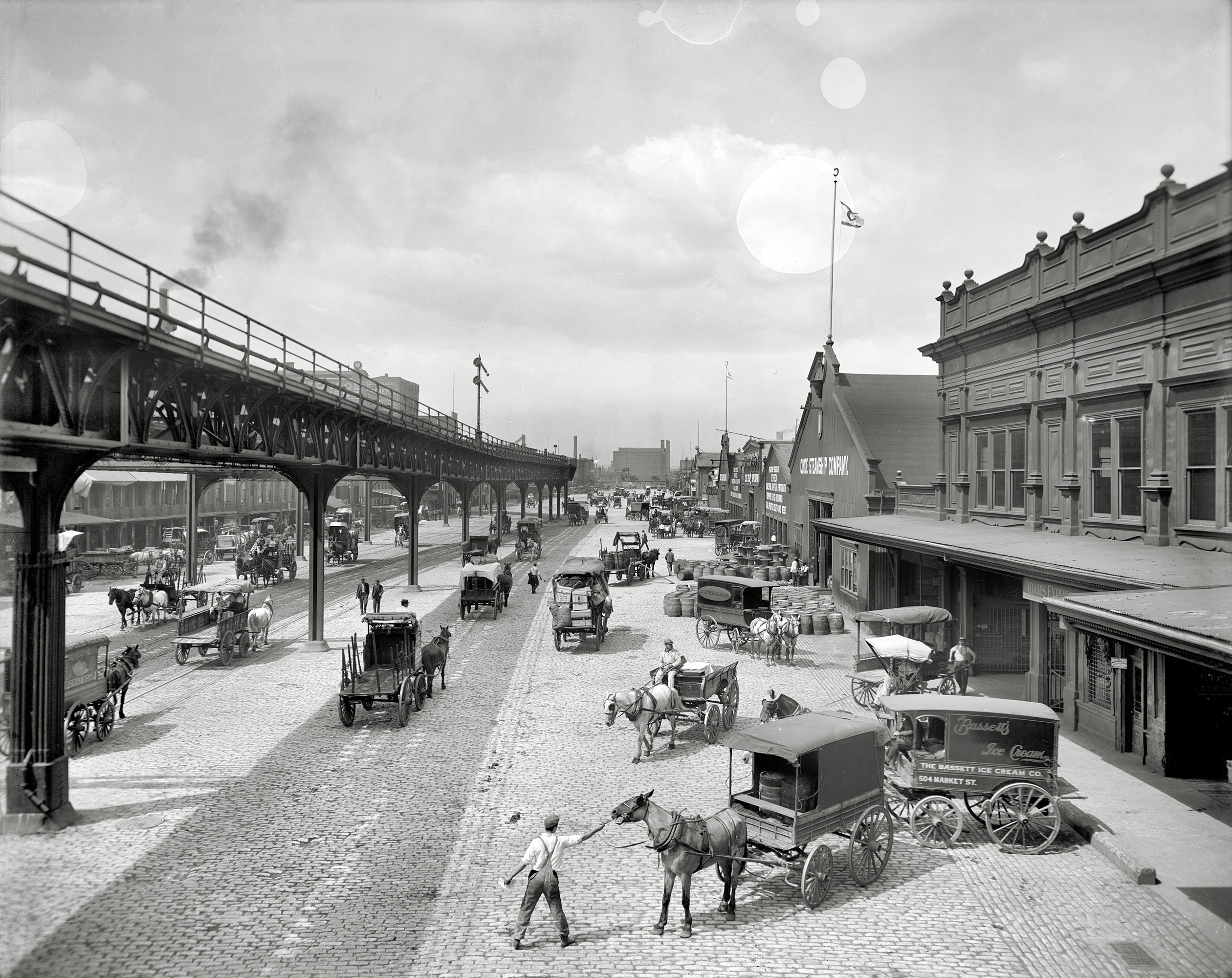 Philadelphia circa 1908.  Delaware Avenue, foot of Market Street.