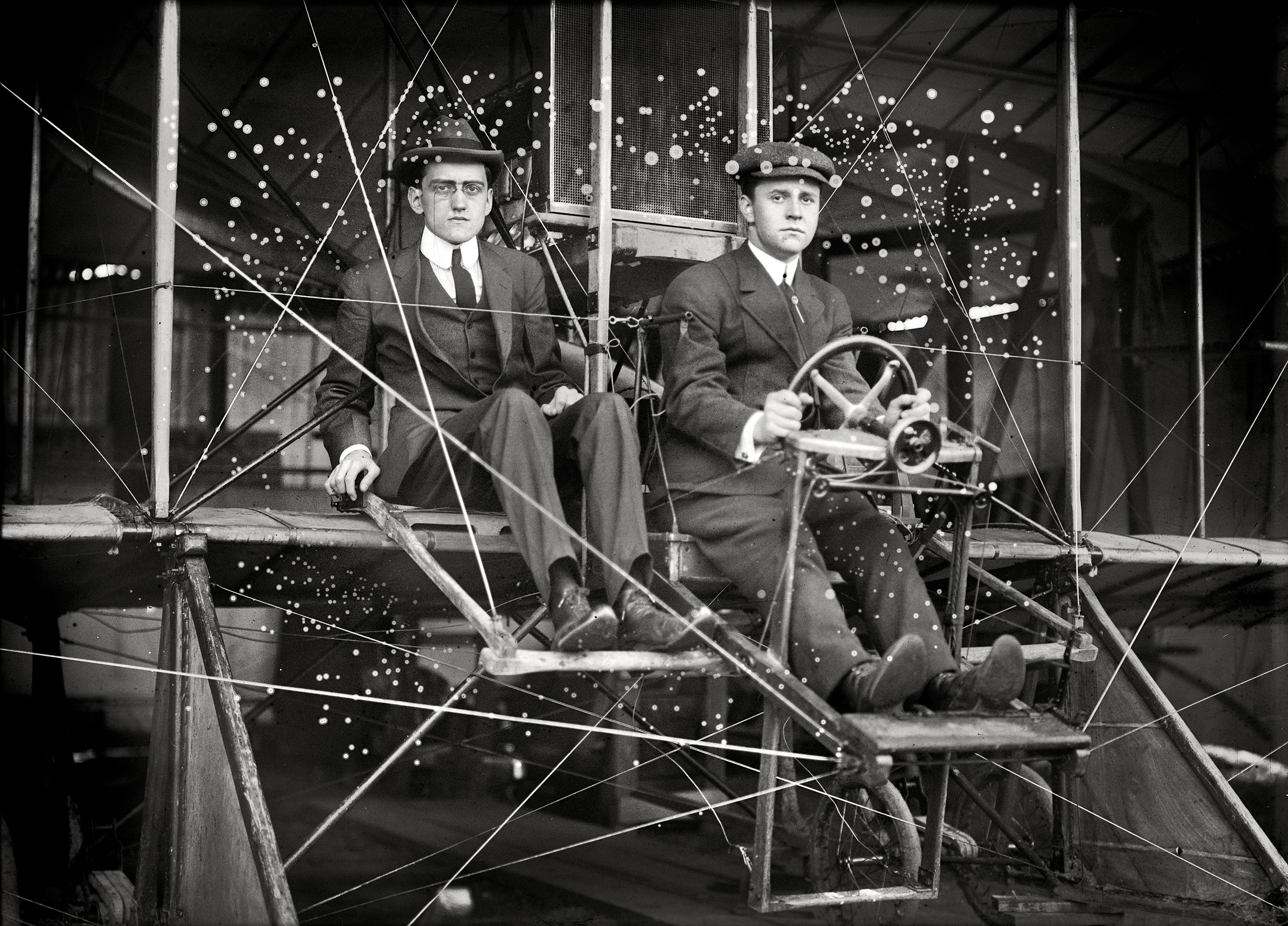 Washington, D.C., circa 1911.  Flights and test of Rex Smith biplane flown by Antony Jannus. The plane with Rufus R. Bermann, wireless operator, and Fred Aubert.